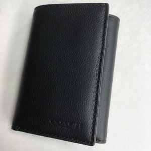 Men's Black Calf Leather Trifold Wallet F23845